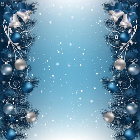 ベル、リボンやクリスマスの装飾でモミ支店枠でクリスマスの背景。  イラスト・ベクター素材