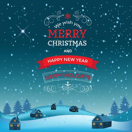 クリスマス、新年のご挨拶をデザインします。冬の休日の風景です。夜の村。背景に雪の結晶のクリスマス ツリー、住宅。  イラスト・ベクター素材