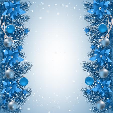 モミ枝ボーダー リボンとクリスマスの装飾クリスマスの背景。