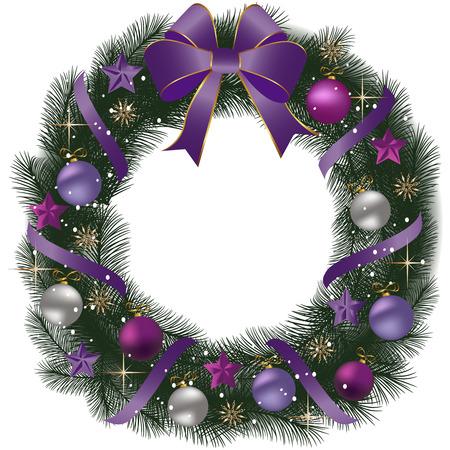 De Kroon van Kerstmis met dennentakken en decoratieve elementen.