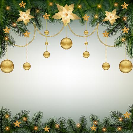 クリスマス背景モミ枝国境ポインセチア花と装飾的な要素。クリスマスの境界線  イラスト・ベクター素材