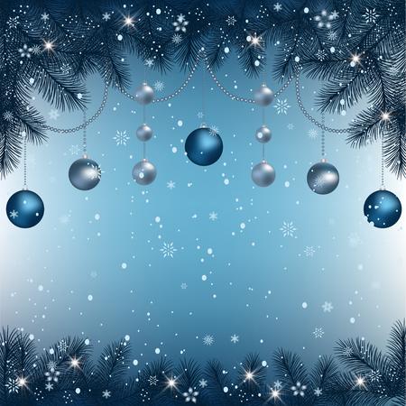 クリスマスの背景にモミ枝枠、装飾的な要素。クリスマスの境界線