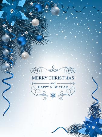 クリスマスの背景にモミ枝枠、装飾的な要素。木、ボール、星および他の装飾とクリスマスの国境
