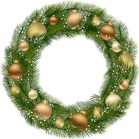 クリスマス リースのモミの枝と装飾的な要素。  イラスト・ベクター素材
