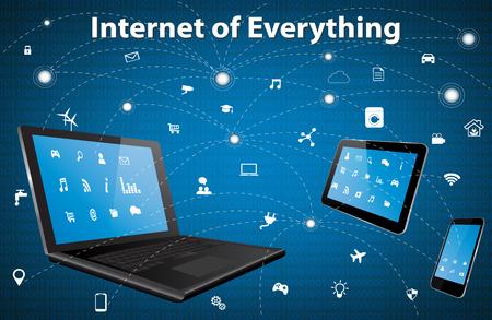 インターネット (IOE) のすべての別のアイコンと要素の概念。デジタル ネットワーク接続近代的な通信技術。ノート パソコン、タブレット Pc やスマ