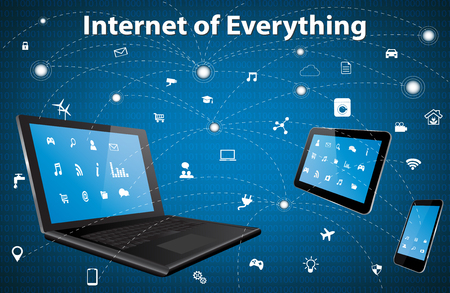 internet phone: Internet of everything (IOE) concept with different icon and elements. Digital Network Connection Modern communication technology. Laptop, Tablet Pc and Smart Phone with apps.