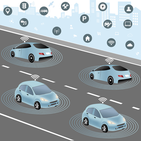 Communication that connects cars to devices on the road, such as traffic lights, sensors, or Internet gateways. Wireless network of vehicle. Smart Car, Traffic and wireless network, Intelligent Transport Systems  イラスト・ベクター素材