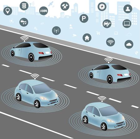 Communicatie die auto aangesloten apparaten op de weg, zoals verkeerslichten, sensoren of internetgateways. Draadloos netwerk van het voertuig. Smart Auto, Verkeer en draadloos netwerk, Intelligent Transport Systems Stockfoto - 71147225