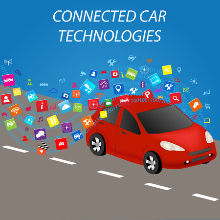 Smart car with application.Intelligent Transport Systems.Connected car and autonomous driving concept