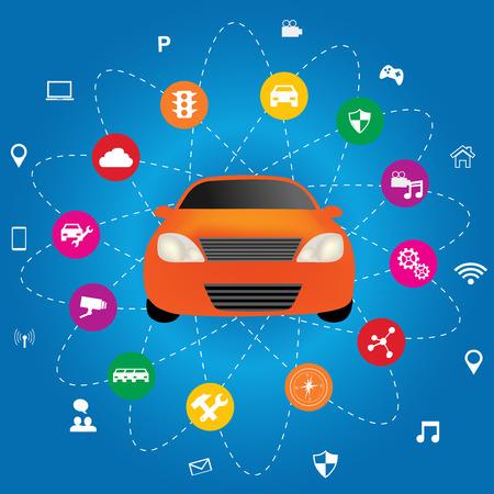 アプリケーションとスマートな車。トランスポート Systems.Connected クルマのインテリジェント化と自律駆動コンセプト  イラスト・ベクター素材