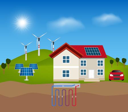 グリーン エネルギー: 太陽エネルギー、風力発電、代替エネルギーの地熱発電。スマートハウス、屋上の太陽電池。  イラスト・ベクター素材