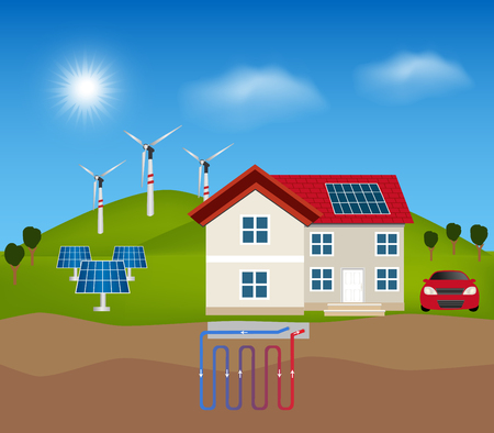 green power: Green energy: Solar energy, Wind Turbine and  geothermal power for alternative energy. Smart house, rooftop with solar cell. Illustration