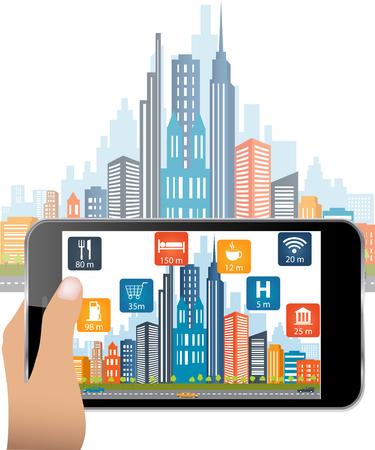 手持ち株のスマート フォンは、拡張現実感のアプリケーションを使用します。ユーザーが通りの場所およびスペースの関連情報が検索されます。バ