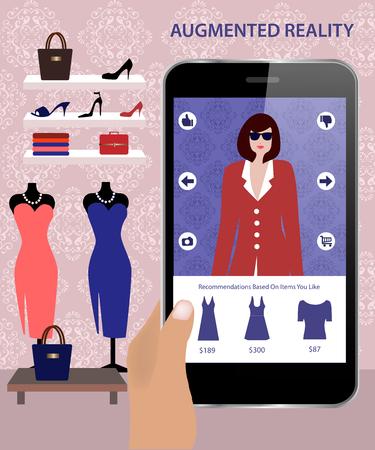 画面上のモデルをドレスアップする顧客が消費者に対応できる拡張現実アプリケーションです。スマート フォンの拡張現実感