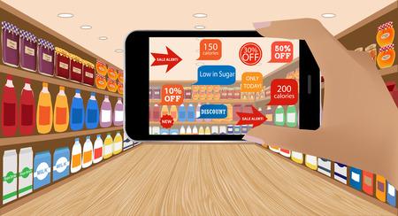 compras: Aplicación de realidad aumentada para el concepto de negocio minorista.