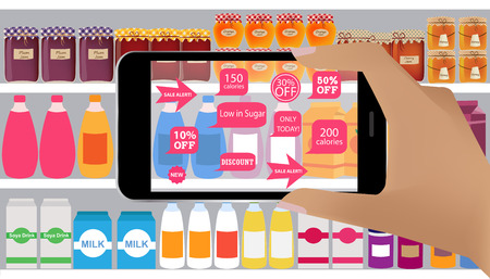 business products: Augmented reality application for retail business concept.Augmented Reality on smartphone. Applications that scan, in supermarket, discount products, sale alert, low callories. Illustration