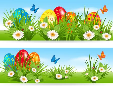 デイジー、蝶やてんとう虫と草で色とりどりの卵イースター バナー