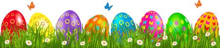 デイジーと蝶草で色とりどりの卵イースター卵枠  イラスト・ベクター素材