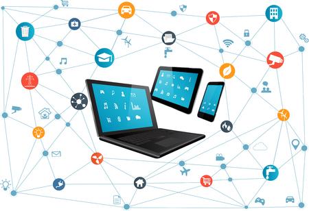 インターネットのすべての別のアイコンと要素の概念。デジタル ネットワーク接続近代的な通信技術。ノート パソコン、タブレット Pc やスマート