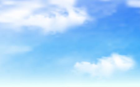 青い空に雲に背景。青い空のベクトル