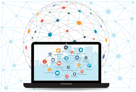 インターネットのネットワー キングの概念とクラウド ・ コンピューティング技術。ノート パソコンの背景に別のアイコン、要素でスマートシティ