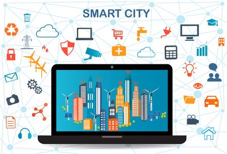 別のアイコンと要素、および環境への配慮とラップトップ上のスマート都市。近代的な都市生活のための将来技術とデザイン。スマートシティと無  イラスト・ベクター素材