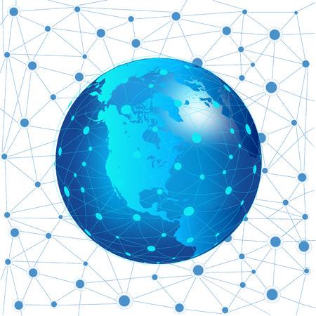 インターネット技術の世界的なネットワーク接続。デジタル ネットワークとデータ交換。  イラスト・ベクター素材