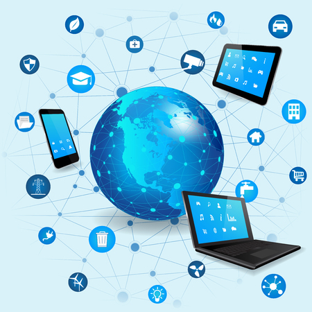 wireless connection: Internet of Things concept with different icon and elements. Digital Network Connection Modern communication technology. Laptop, Tablet Pc and Smart Phone with apps. Wireless communication network