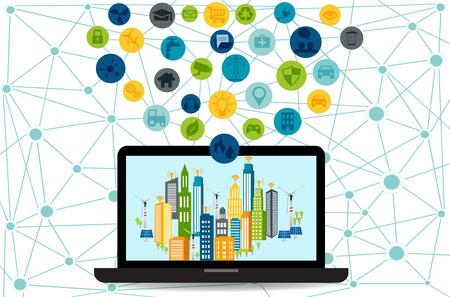 別のアイコン及び構成要素及び環境への配慮でラップトップでスマートシティ。近代的な都市生活のための将来技術とデザイン。スマートシティと  イラスト・ベクター素材