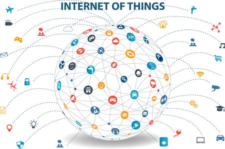 もの概念と、クラウド コンピューティング技術スマート技術インター ネット ネットワーク概念のインターネット。アプリで特にクラウドのインタ  イラスト・ベクター素材