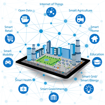 Smart city concept with different icon and elements. Modern city design with future technology for living. Illustration of innovations and Internet of things.Internet of things/Smart city 版權商用圖片 - 78892101