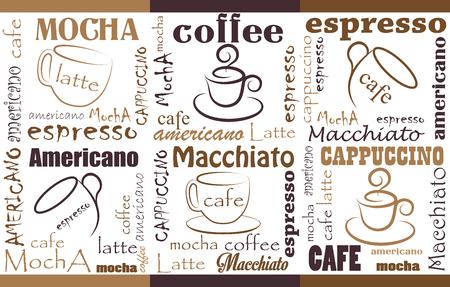 背景別ブレンド コーヒーと型のシームレスなコーヒーのパターン、テンプレート チラシ、バナー、招待状、レストランやカフェのメニュー デザイ