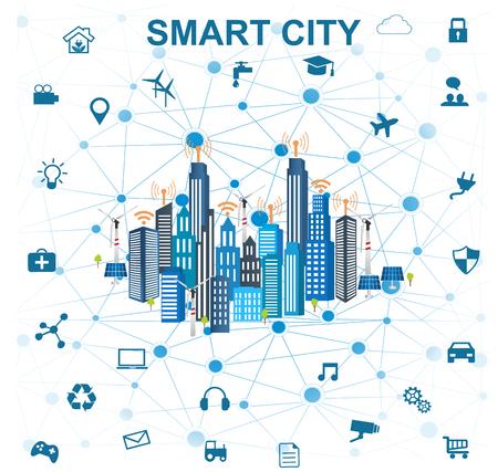 Smart City-Konzept mit verschiedenen Symbol und Elemente. Moderne Stadt-Design mit Zukunftstechnologie für das Leben. Illustration von Innovationen und Internet von things.Internet der Dinge / Smart Stadt Standard-Bild - 79891085