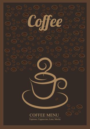 コーヒーの背景を持つモダンなポスター。チラシ、バナー、招待状、レストランやカフェのメニューのコーヒーでテンプレートを設計します。