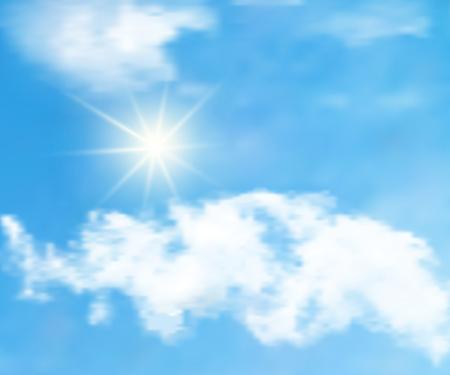 青い空に雲で太陽との背景。青い空のベクトル