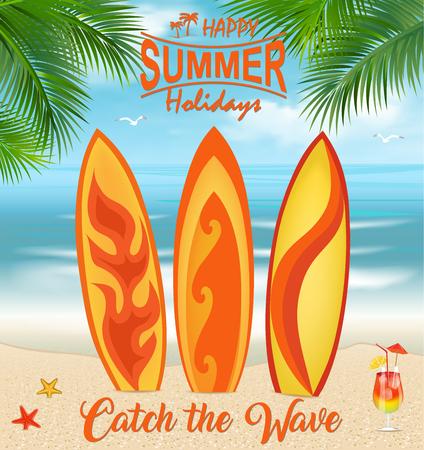 ヤシの木と熱帯のビーチでサーフボード。サーフボードの背景。夏の休暇の概念。休暇、旅行、夏の休日