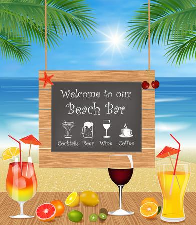 ビーチで夏の休日。エキゾチックなカクテル、新鮮な果物やヤシの木と熱帯のビーチのバー。ドリンクバー メニュー  イラスト・ベクター素材