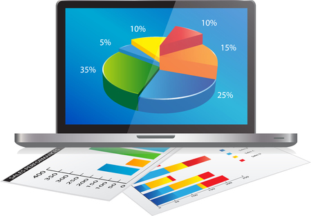 Laptop with Graph Chart and a paper with statistic charts. Concept for business, graph statistics, data analysis, financial research report, market stats.