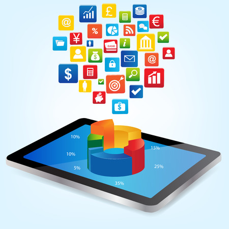Tablet with Graph Chart and financial icon. Concept for business, graph statistics, data analysis, financial research report, market stats.