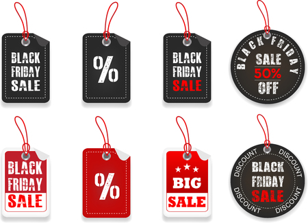 Black friday price stickers.Black Friday, hängende Etiketten