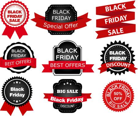 Black Friday set of labels sticker badges design elements Set of  Labels, Ribbons, Sticker and Badges design elements.