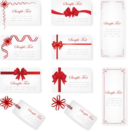 赤いリボンの弓とテキストのためのスペースで、白い背景の上のギフトカードのセット 写真素材 - 87047866