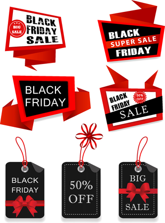Set of Black Friday Big Sale Origami Labels, Banners, Stickers, Badges and Ribbons. Advertising and promotion design elements. Web Stickers, Tags, Banners and Labels collection