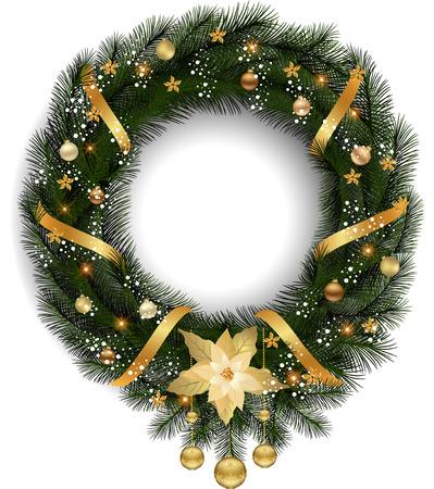 クリスマス リースのモミの枝と装飾的な要素。 写真素材 - 88206774