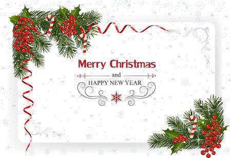 装飾や紙とクリスマスの背景。ベリーとリボンのクリスマスフレーム 写真素材 - 88545549
