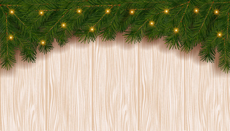 Christmas background with fir branch border and lights.Decorative Christmas festive background.