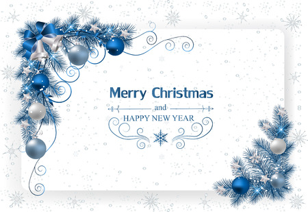 Christmas background with decoration and paper.Christmas card with bells and ribbons Illustration
