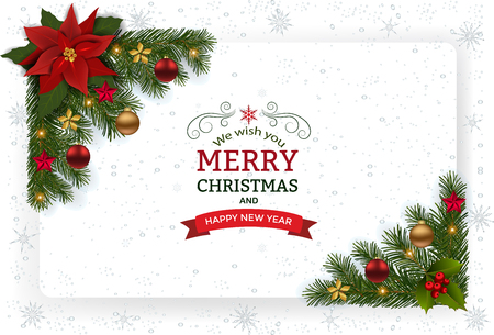 Christmas background with decoration and paper. Decorative Christmas festive background with Christmas flowers, balls stars and ribbons.