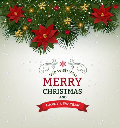 クリスマスの背景にモミ枝枠、装飾的な要素。木、ボール、星および他の装飾とクリスマスの国境 写真素材 - 89194266