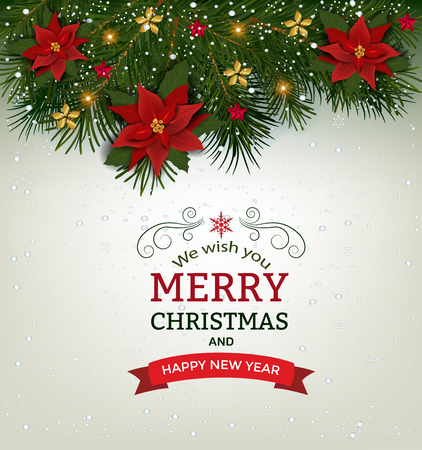 Christmas background with fir branch borders and decorative elements.Christmas border with trees, balls, stars and other ornaments